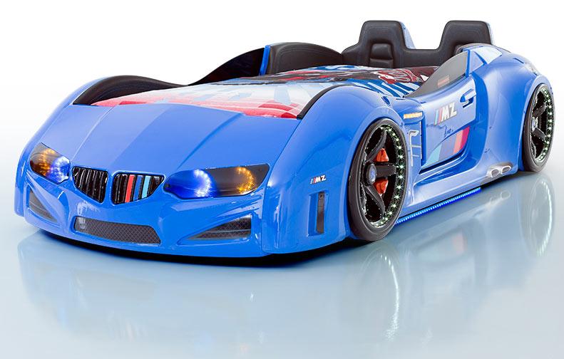 bil seng MZ Luxery Bilseng med Lædersæder, LED Lys og Lydpakke, Blå Kr  bil seng