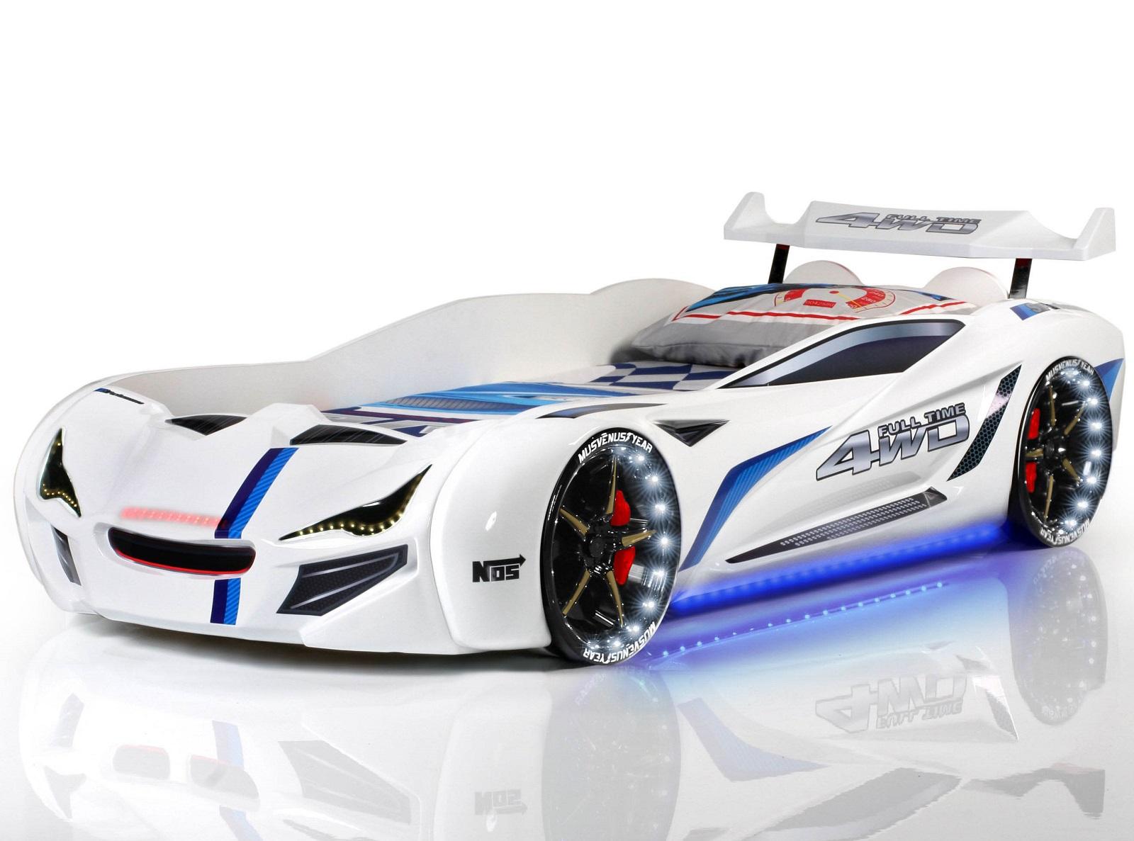 bil seng Speedy Spoiler 4WD Bilseng med LED Lys og Lydpakke, Hvid Kr. 5.499  bil seng