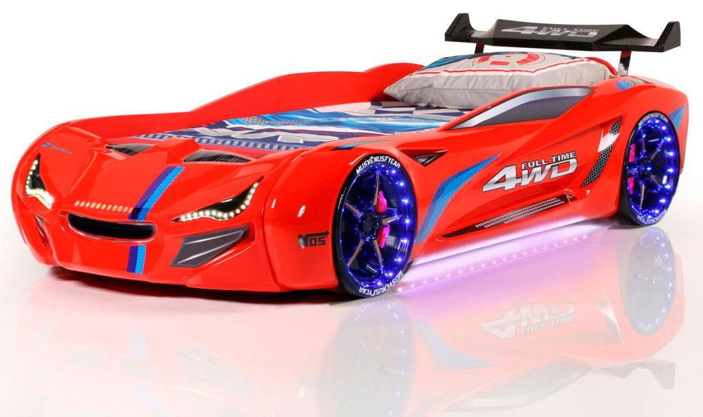 bil seng Speedy Spoiler 4WD Bilseng med LED Lys og Lydpakke, Rød Kr. 5.499  bil seng