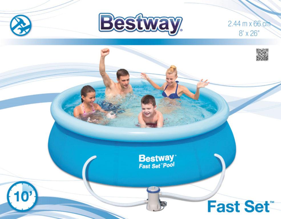 bestway fast set pool 244x66cm m filter pumpe udg et. Black Bedroom Furniture Sets. Home Design Ideas