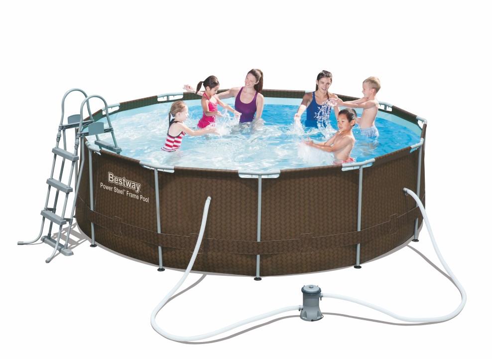 bestway rattan frame pool 366 x 100 cm m filter pumpe stige udg et. Black Bedroom Furniture Sets. Home Design Ideas