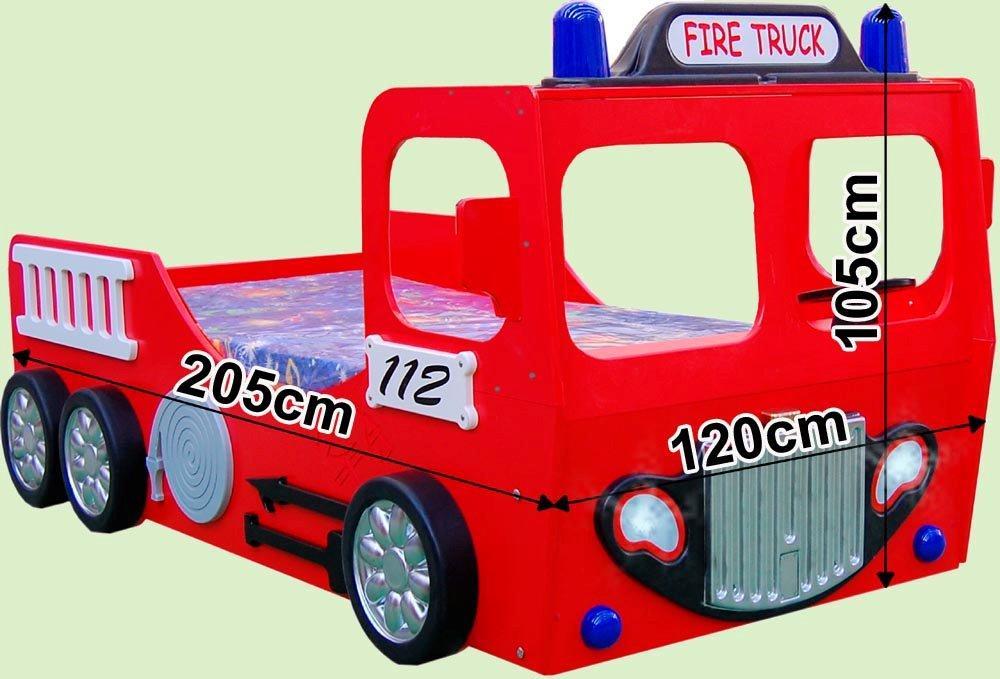 Brandbil Træ Børneseng med LED Lys/Madras (Udgået)