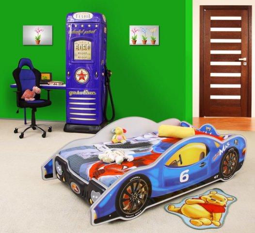 Minimax træ børne seng, blå m/led og madras kr. 1.995