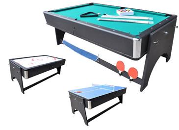 MegaLeg  4i1 multibord med Pool / Airhockey / Bordtennis / Spisebord