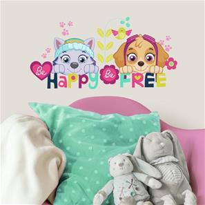 Paw Patrol Skye og Everest Be Happy Wallstickers