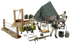 World Peacekeepers 1:18 Militær Stor Camp inkl. 3 actionfigurer